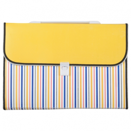 Expanding File With Colored Stripes Yellow